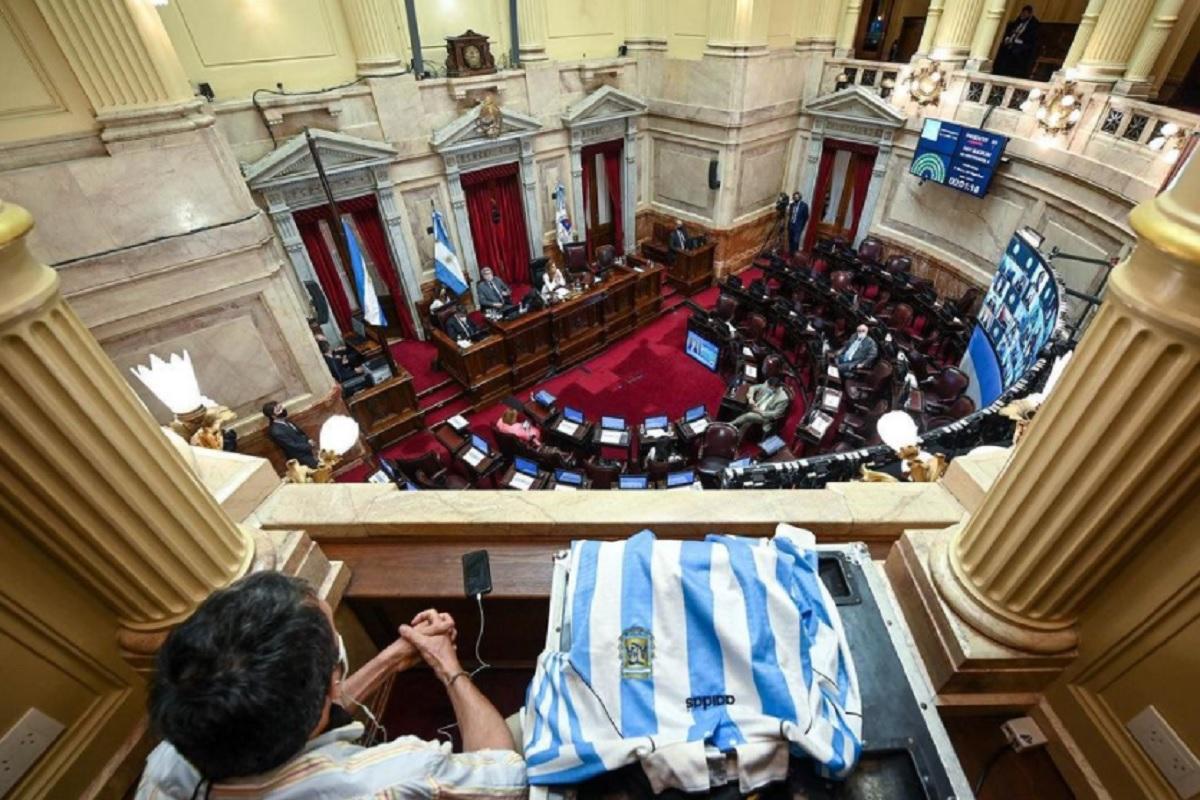 sesion senado homenaje diego maradona