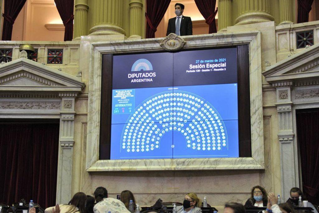 tablero votacion ganancias diputados