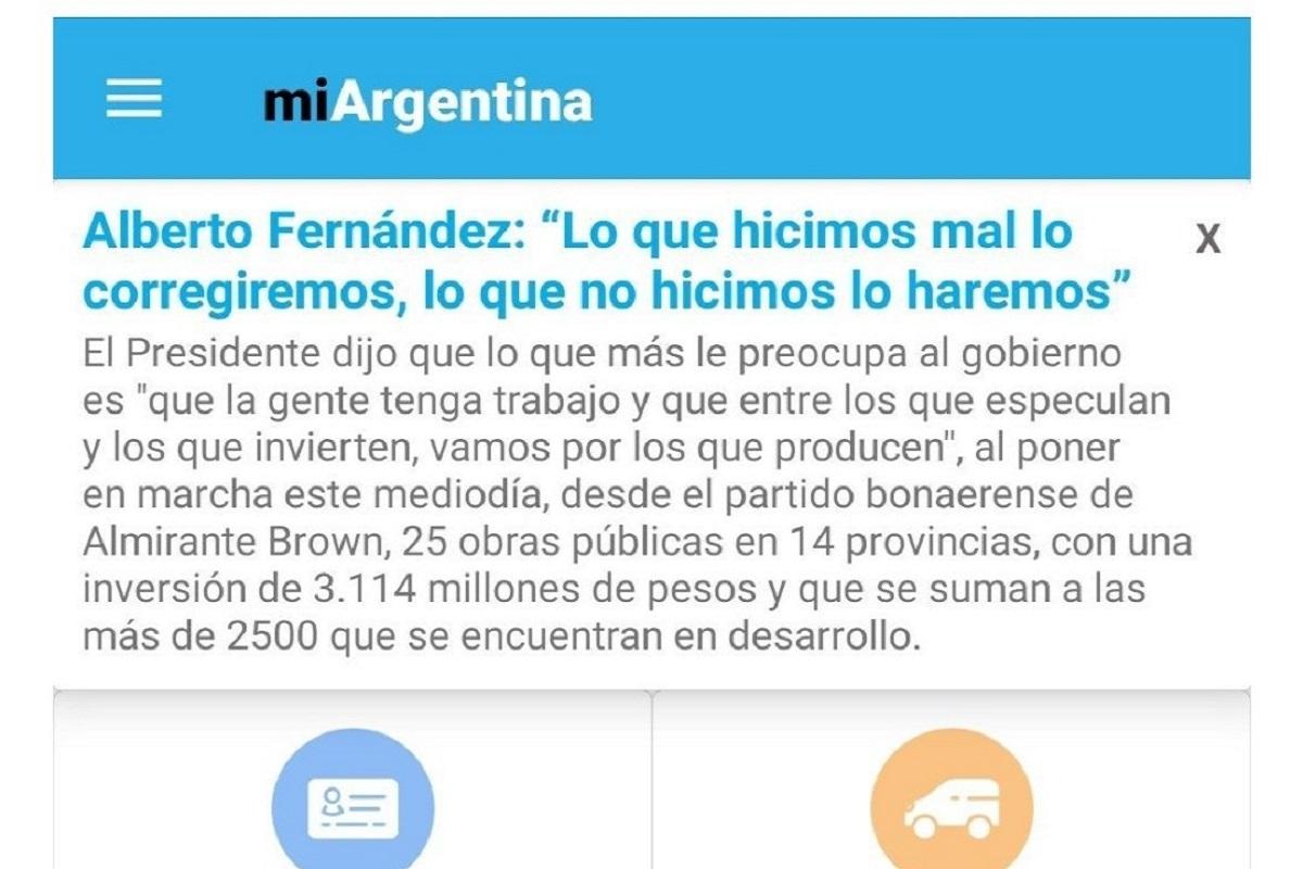 propaganda gobierno aplicacion mi argentina